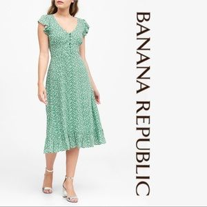 Banana Republic Midi Dress • Green Ditsy Floral